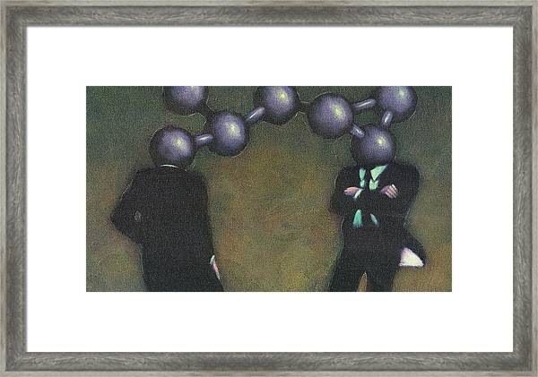 Chemically Bonded Businessmen Framed Print by Tim Teebken