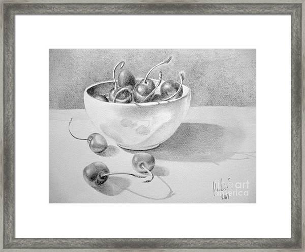 Cherries In White Bowl Framed Print by Eleonora Perlic