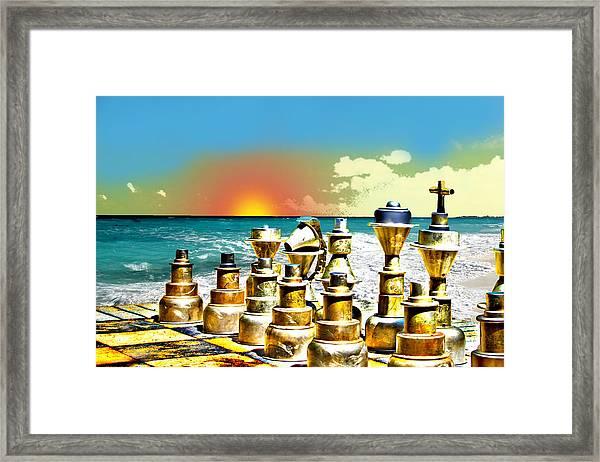 Chess On Beach Framed Print by Frank Savarese