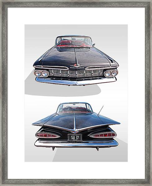 Chevrolet Impala 1959 Front And Rear Framed Print
