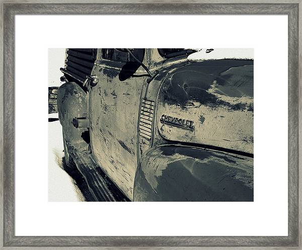 Arroyo Seco Chevy In Silver Framed Print
