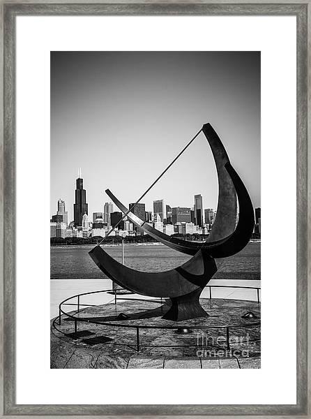 Chicago Adler Planetarium Sundial In Black And White Framed Print by Paul Velgos