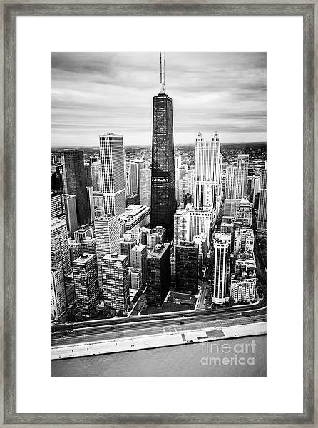 Chicago Aerial With Hancock Building In Black And White Framed Print