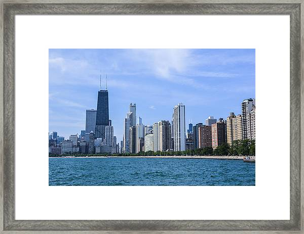 Chicago As Seen From North Ave Beach Framed Print by Michael  Bennett