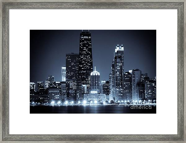 Chicago At Night With Hancock Building Framed Print