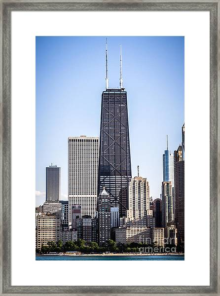 Chicago At Night With John Hancock Building Framed Print