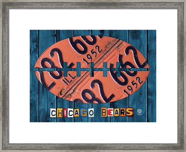 Chicago Bears Football Recycled License Plate Art Framed Print