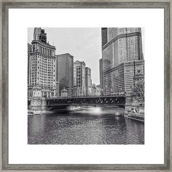 #chicago #blackandwhite #urban Framed Print