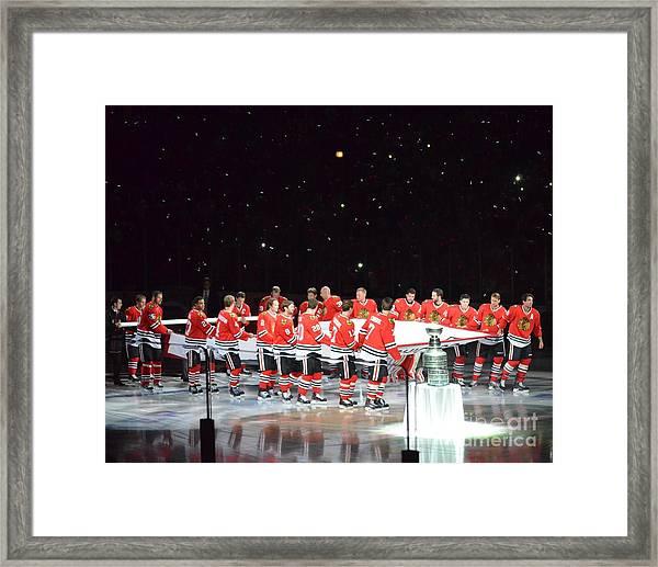 Chicago Blackhawks And The Banner Framed Print