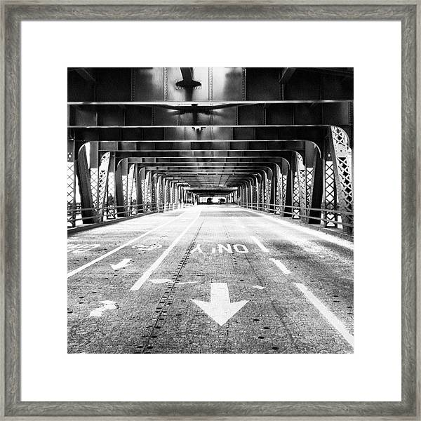 Chicago Wells Street Bridge Picture Framed Print
