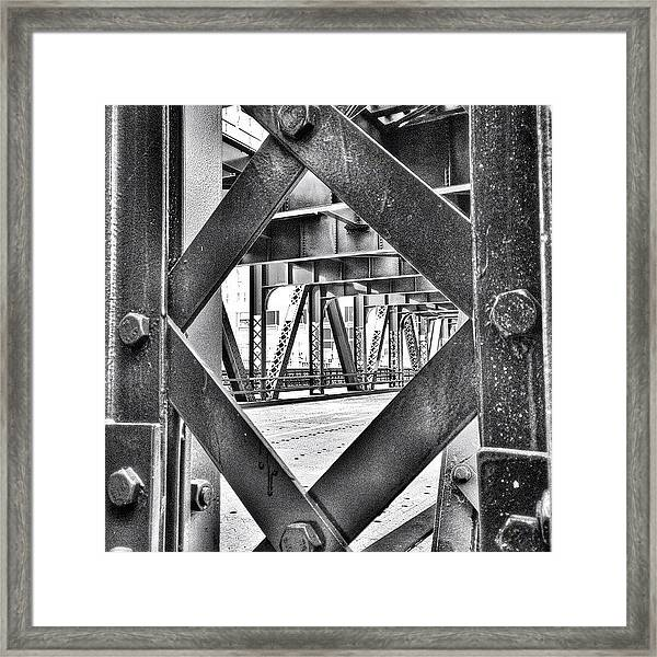 Chicago Bridge Iron In Black And White Framed Print
