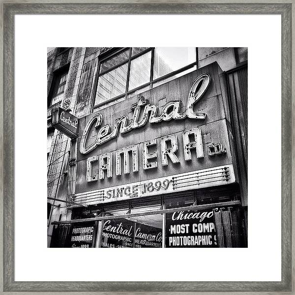 Chicago Central Camera Sign Picture Framed Print