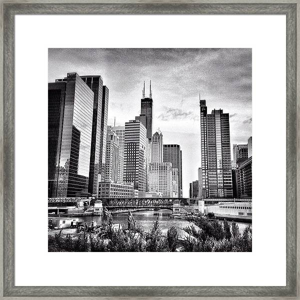 Chicago River Buildings Black And White Photo Framed Print