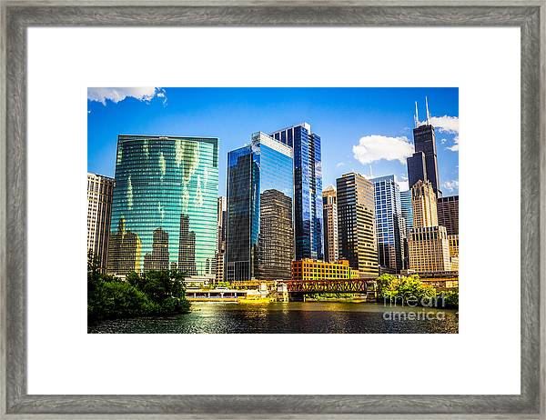 Chicago City Skyline Framed Print by Paul Velgos