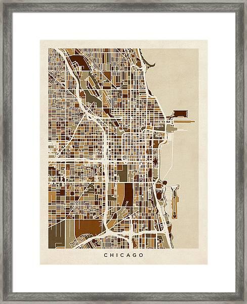 Chicago City Street Map Framed Print