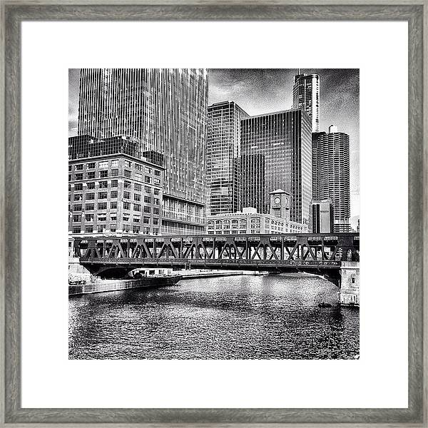 Wells Street Bridge Chicago Hdr Photo Framed Print