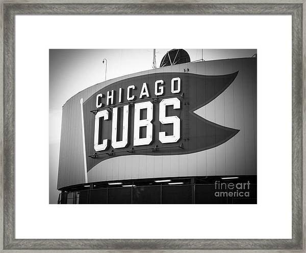 Chicago Cubs Wrigley Field Sign Black And White Picture Framed Print
