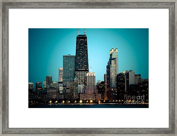 Chicago Downtown At Night With Hancock Building Framed Print