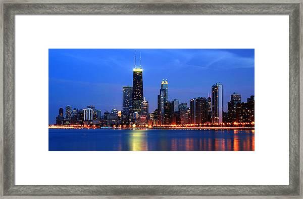 Chicago Dusk Skyline Hancock Framed Print