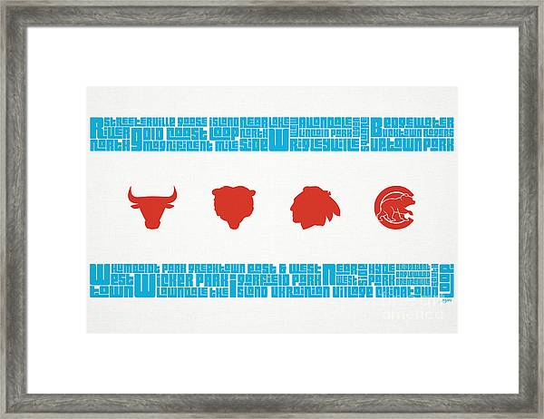 Chicago Flag Sports Teams Framed Print