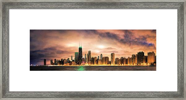 Chicago Gotham City Skyline Panorama Framed Print