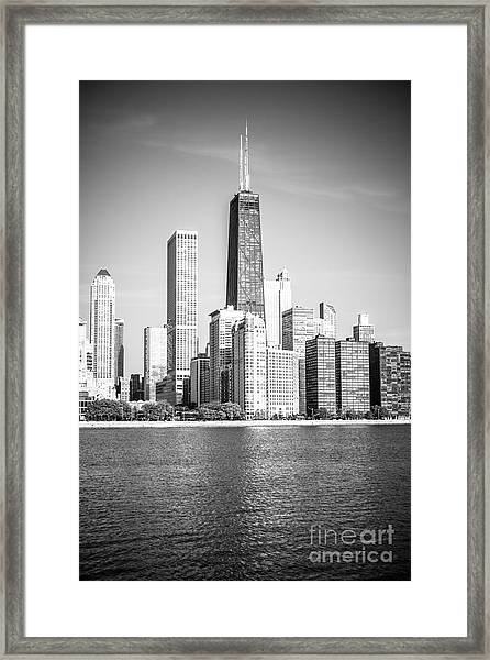 Chicago Hancock Building Black And White Picture Framed Print