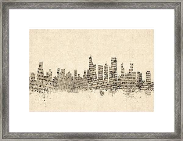 Chicago Illinois Skyline Sheet Music Cityscape Framed Print