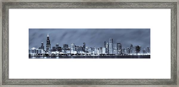 Chicago In Blue Framed Print