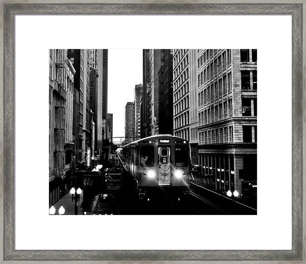 Chicago L Black And White Framed Print