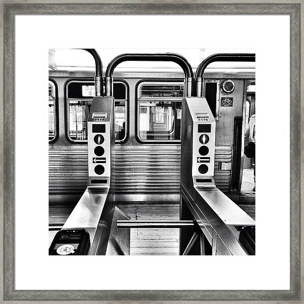 Chicago L Train Gate In Black And White Framed Print by Paul Velgos
