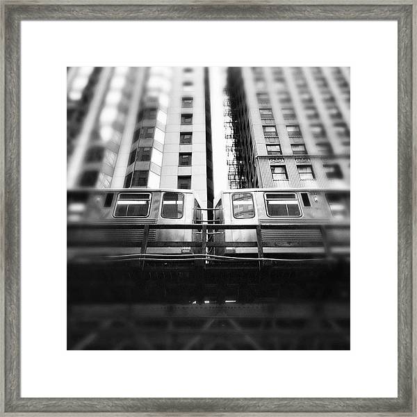 Chicago L Train In Black And White Framed Print