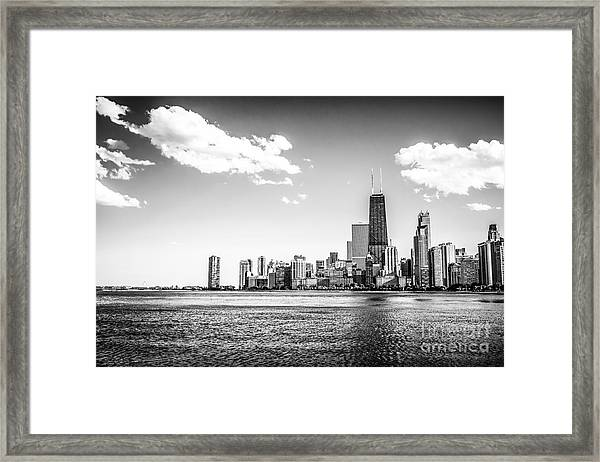 Chicago Lakefront Skyline Black And White Picture Framed Print