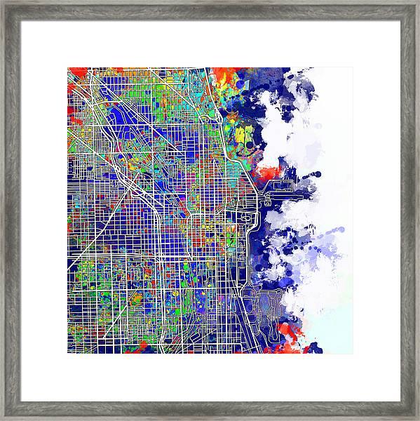 Chicago Map Color Splash Framed Print