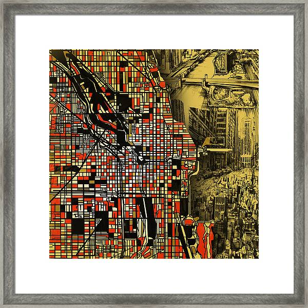 Chicago Map Drawing Collage 2 Framed Print