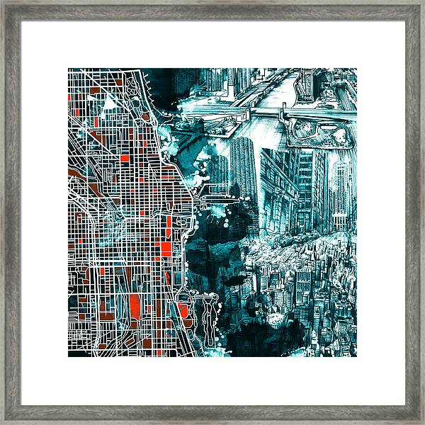 Chicago Map Drawing Collage Framed Print