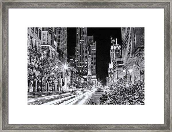 Chicago Michigan Avenue Light Streak Black And White Framed Print