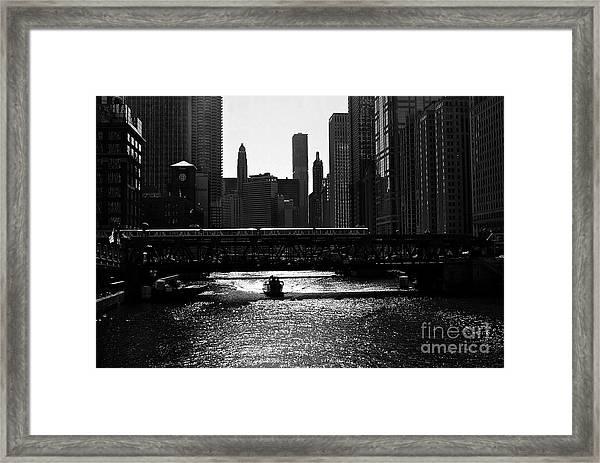 Chicago Morning Commute - Monochrome Framed Print