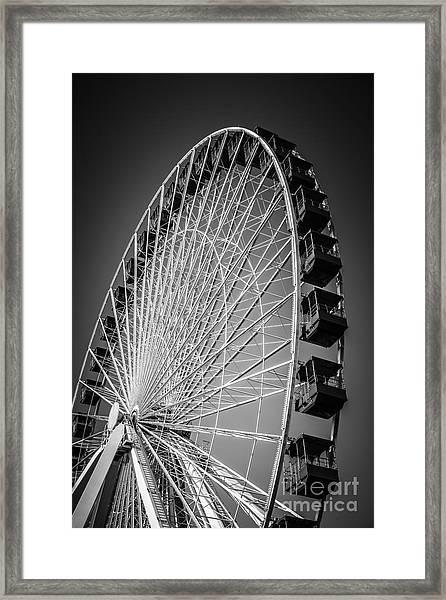 Chicago Navy Pier Ferris Wheel In Black And White Framed Print
