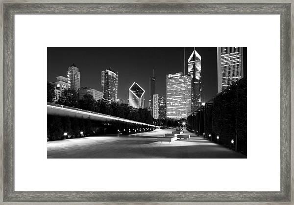 Chicago Night Skyline Black White Framed Print