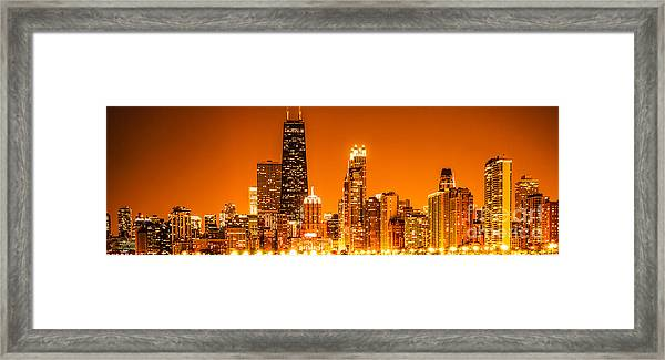 Chicago Panorama Skyline At Night Orange Tone Framed Print