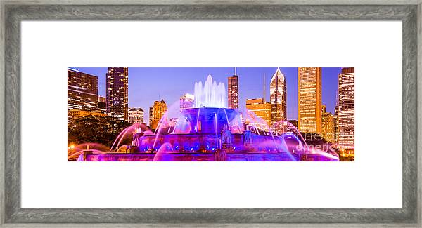 Chicago Panoramic Picture With Buckingham Fountain  Framed Print by Paul Velgos