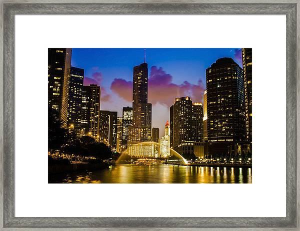 Chicago River Dusk Scene Framed Print
