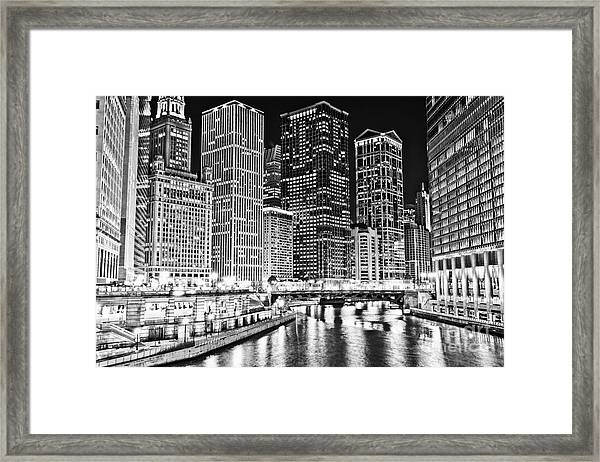 Chicago River Skyline At Night Black And White Picture Framed Print by Paul Velgos