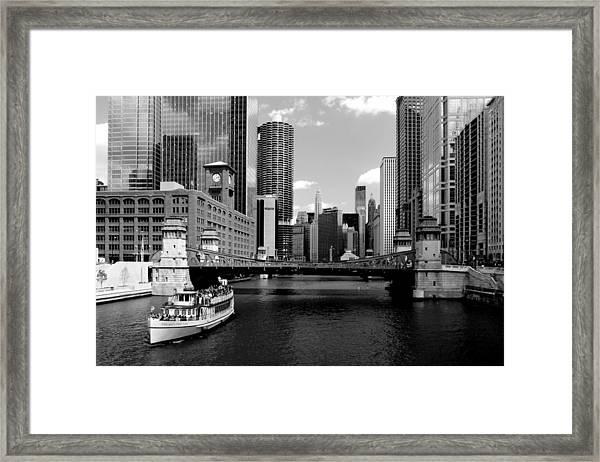 Chicago River Skyline Bridge Boat Framed Print
