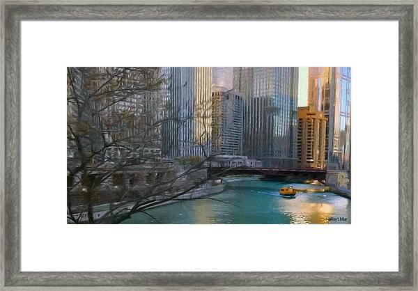 Chicago River Sunset Framed Print