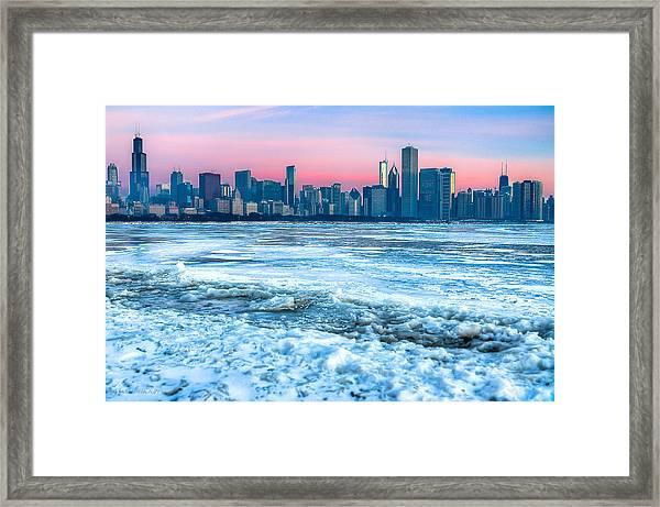 Chicago Skyline At Dawn - Lake Michigan 3-9-14 Framed Print by Michael  Bennett