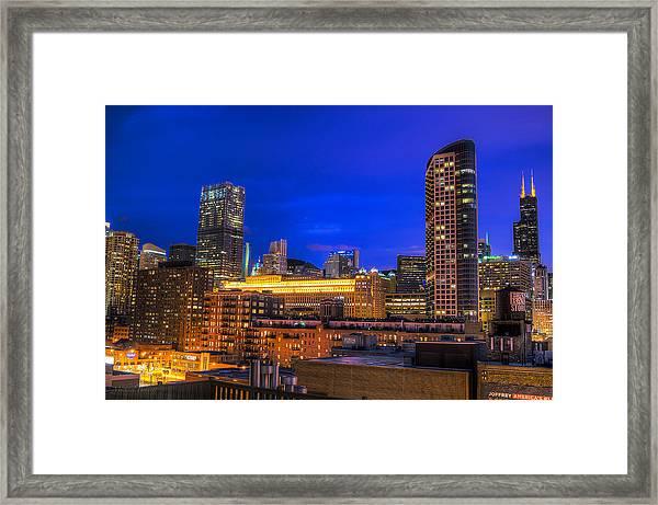 Chicago Skyline At Dusk - Blue Hour Willis Tower Framed Print by Michael  Bennett