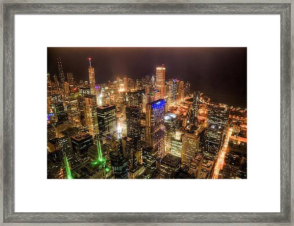 Chicago Skyline At Night - Hancock And Trump Framed Print by Michael  Bennett