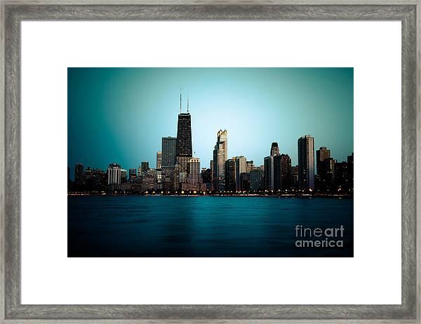 Chicago Skyline At Night Time Framed Print
