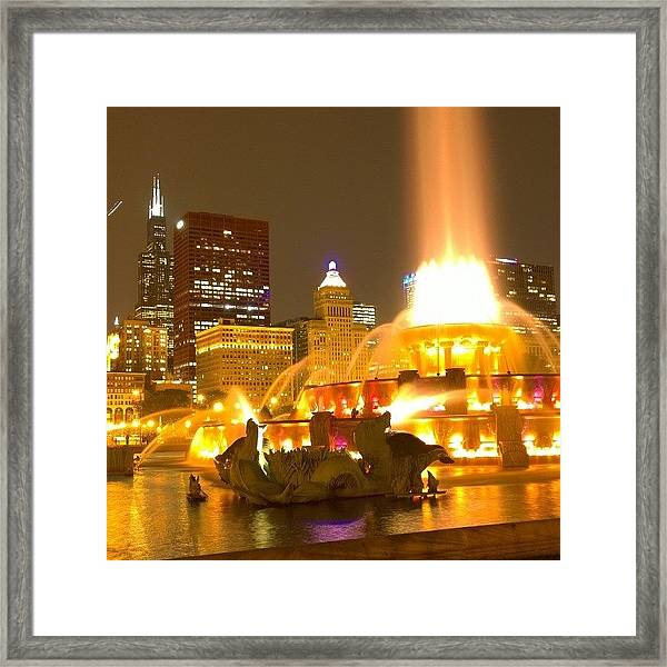 Chicago Skyline At Night With Framed Print